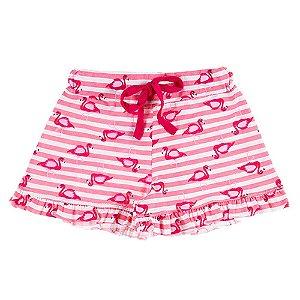 Shorts Infantil Feminino Rosa com Babado Bju Kids
