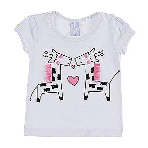 Blusa Infantil Feminina Baby Look Branca Girafa Bju Kids