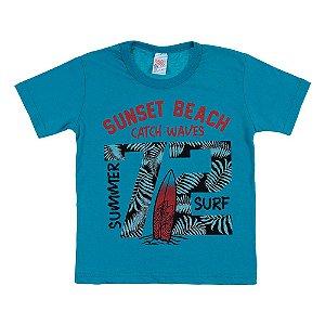 Camiseta Infantil Masculina Beach Azul Bju Kids