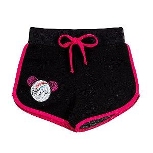 Shorts Infantil Feminino Preto Bordado Ursinho Bju Kids