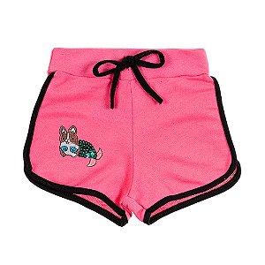 Shorts Infantil Feminino Rosa Bordado Cachorrinho Bju Kids