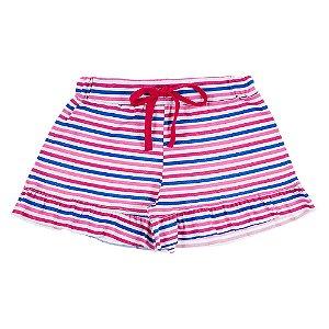 Shorts Infantil Feminino Listrado Colorido Bju Kids