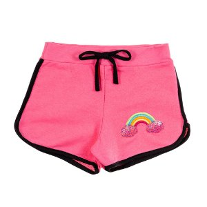Shorts Infantil Feminino Rosa Arco Íris Bju Kids