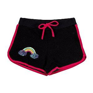 Shorts Infantil Feminino Preto Arco Íris Bju Kids