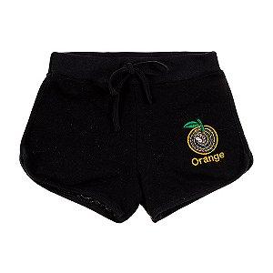 Shorts Infantil Feminino Preto Orange Bju Kids