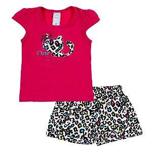 Conjunto Infantil Feminino Gato Rosa Bju Kids