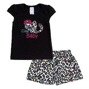 Conjunto Infantil Feminino Gato Preto Bju Kids