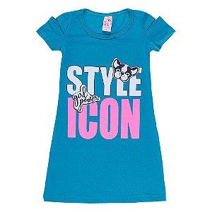 Vestido Infantil Azul Style Icon Bju Kids