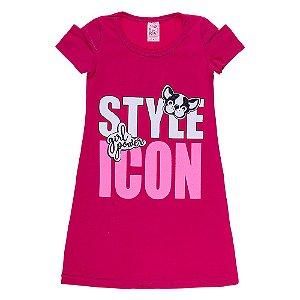 Vestido Infantil Rosa Escuro Style Icon Bju Kids
