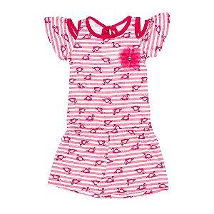 Macaquinho Infantil Feminino Flamingos Rosa Bju Kids