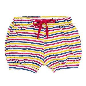 Shorts Infantil Feminino Colorido Listrado Bju Kids