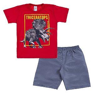 Conjunto Infantil Masculino Dinossauro Vermleho Bju Kids