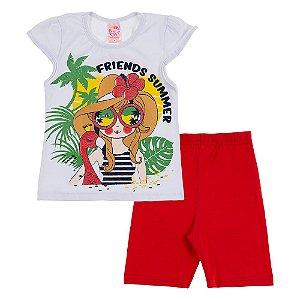 Conjunto Infantil Feminino Friends Branco Bju Kids