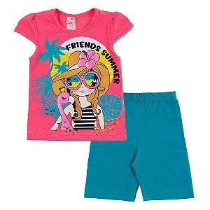 Conjunto Infantil Feminino Friends Rosa Bju Kids
