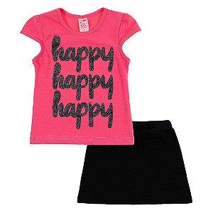 Conjunto Infantil Feminino Happy Rosa Claro Bju Kids