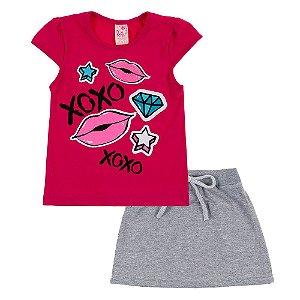 Conjunto Infantil Feminino Beijo Rosa Escuro Bju Kids