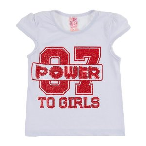 Blusa Feminina Infantil Power Branca Bju Kids