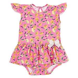 Body Vestido Infantil Feminino Rosa Ralakids