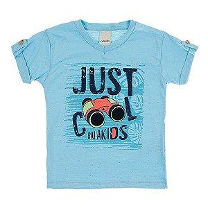 Camiseta Infantil Masculina Just Cool Azul Ralakids
