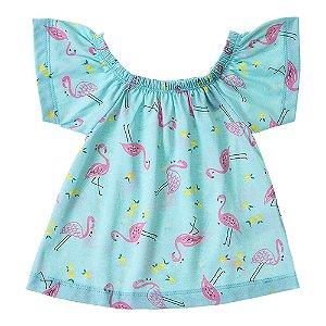 Blusa Infantil Feminina Ciganinha Flamingo Mundo Mania