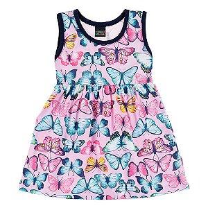 Vestido Infantil Feminino Regata Borboleta Mundo Mania