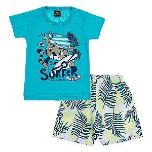 Conjunto Bebê Masculino Tigre Surfista Mundo Mania