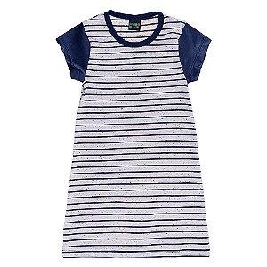 Vestido Listrado Infantil Azul Marinho Mundo Mania