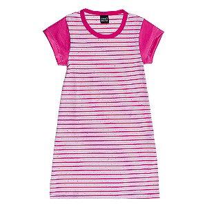 Vestido Listrado Infantil Rosa Mundo Mania
