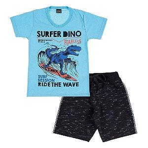 Conjunto Infantil Masculino Dino Surfista Mundo Mania