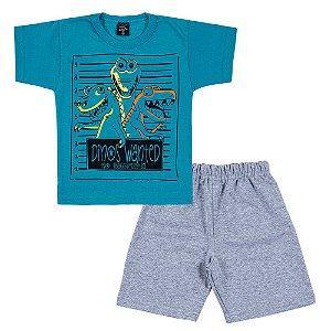 Conjunto Infantil Masculino Dino Azul Scheila Malhas