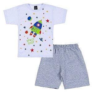 Conjunto Infantil Masculino Foguete Branco Scheila Malhas