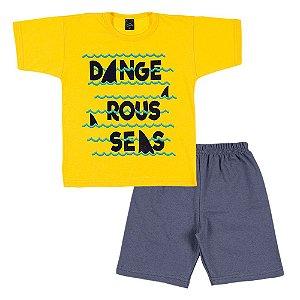 Conjunto Infantil Masculino Ondas Amarelo Scheila Malhas