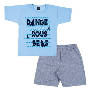 Conjunto Infantil Masculino Ondas Azul Scheila Malhas