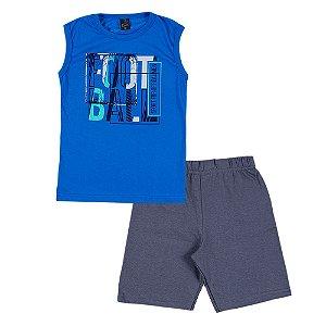 Conjunto Regata Infantil Masculino Futebol Azul Scheila Malhas