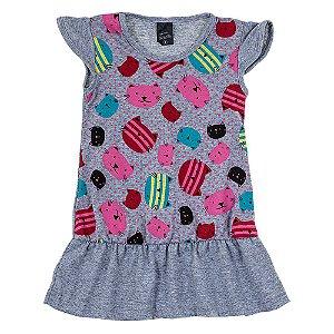 Vestido Infantil Feminino Gata Mescla Scheila Malhas