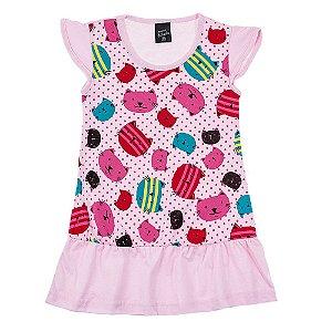 Vestido Infantil Feminino Gata Rosa Scheila Malhas