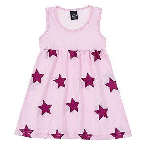 Vestido Infantil Feminino Estrela Rosa Scheila Malhas