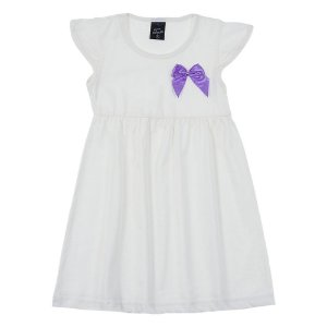 Vestido Infantil Feminino Creme Scheila Malhas