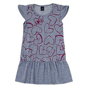 Vestido Infantil Feminino Coração Mescla Scheila Malhas