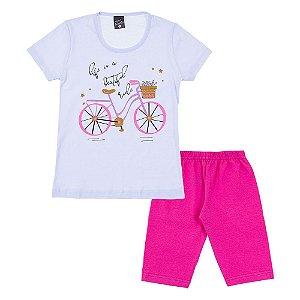 Conjunto Infantil Feminino Bicicleta Branco Scheila Malhas