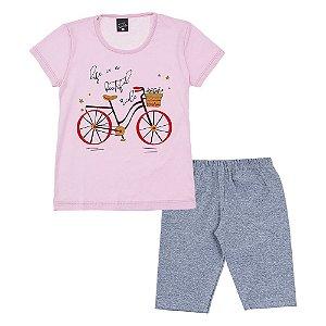 Conjunto Infantil Feminino Bicicleta Rosa Scheila Malhas