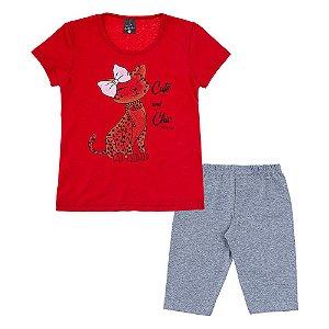 Conjunto Infantil Feminino Oncinha Vermelho Scheila Malhas
