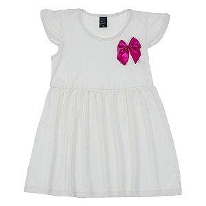 Vestido Infantil Feminino Creme Laço Bordo Scheila Malha