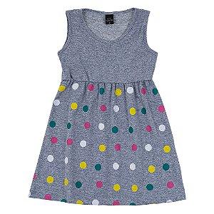 Vestido Infantil Feminino Bolinhas Mescla Scheila Malhas