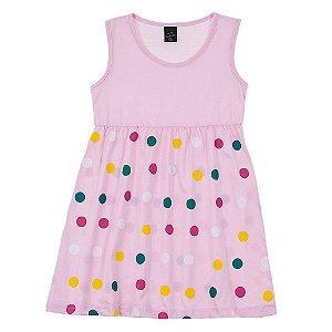 Vestido Infantil Feminino Bolinhas Rosa Scheila Malhas