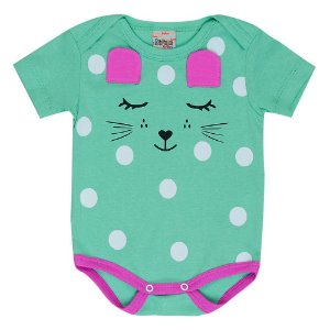 Body Bebê Feminino Gatinho Verde Didiene