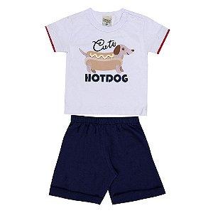 Conjunto Bebê Masculino Hot Dog Branco Didiene