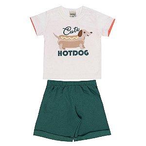 Conjunto Bebê Masculino Hot Dog Creme Didiene
