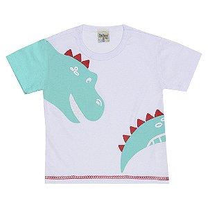 Camiseta Infantil Masculina Dino Branca Didiene