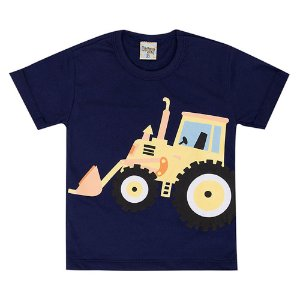 Camiseta Infantil Masculina Trator Azul Marinho Didiene